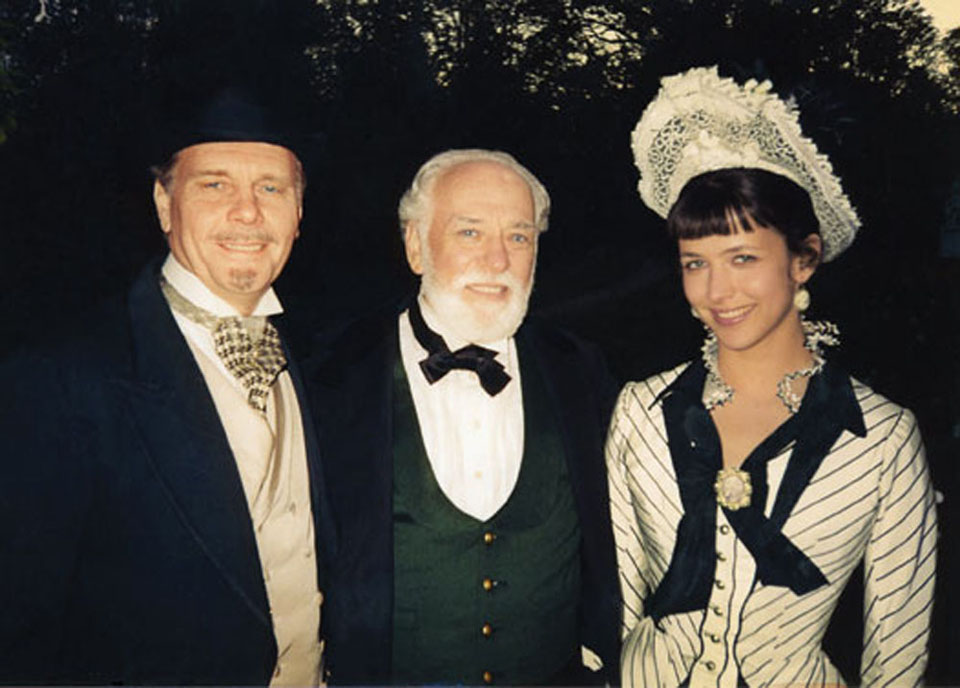 "James Fox, Petr Shelokhonov and Sophie Marceau after filming ""Anna Karenina"", 1996"